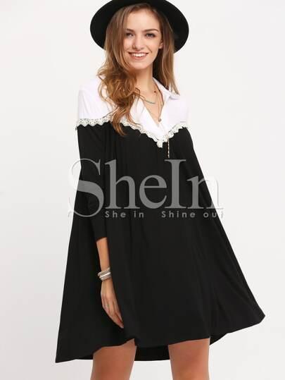 Black Color Block Shift Dress