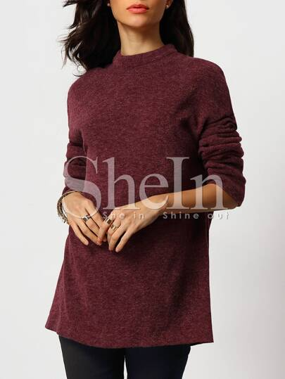 Red Mock Neck Loose Sweater