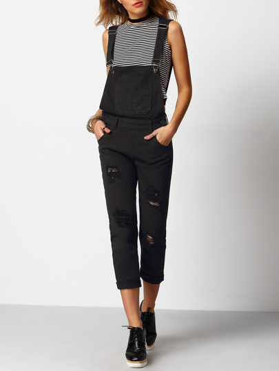 Ripped Front Pockets Denim Dungarees