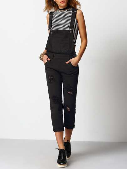 Nero Bretelle strappato tasche denim Jumpsuit