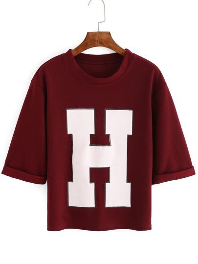 Camiseta manga corta H crop -blanco