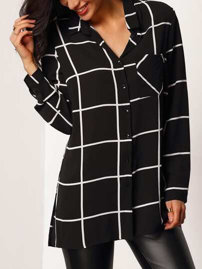 Grid Print Pocket Front Blouse