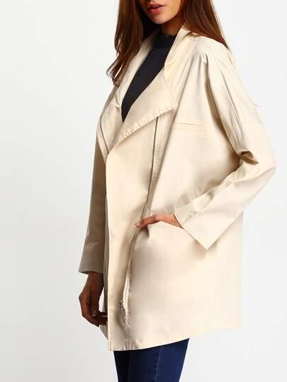 Beige Dropped Shoulder Seam Contrast Cuffed Coat