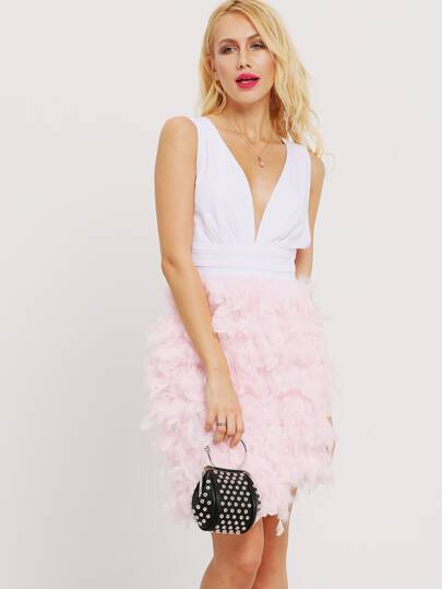Pink Feather Splicing Sleeveless Plunge Dress