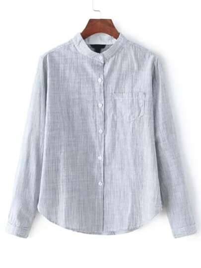 Grey Stand Collar Vertical Stripe Blouse