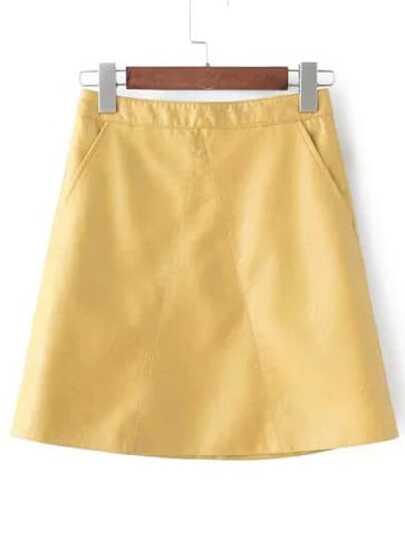 Yellow Pockets A Line PU Skirt