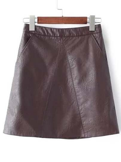 Brown Pockets A Line PU Skirt