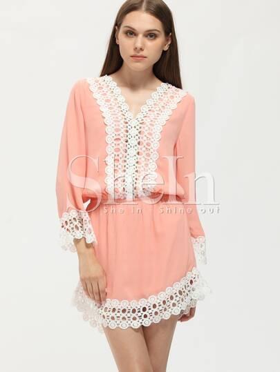 Pink Contrast Lace Hem Dress