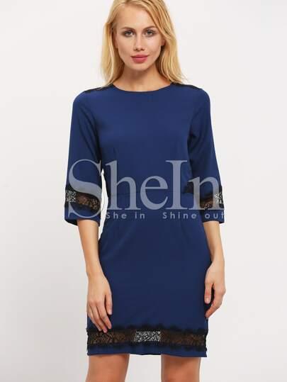 Blue High Waist With Lace Dress
