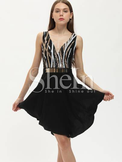 Black Color Block Scoop Back Cami Asymmetric Dress