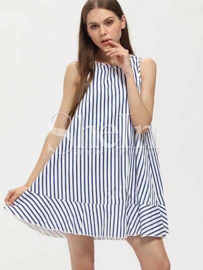 Blue Vertical Striped Sleeveless Tent Dress