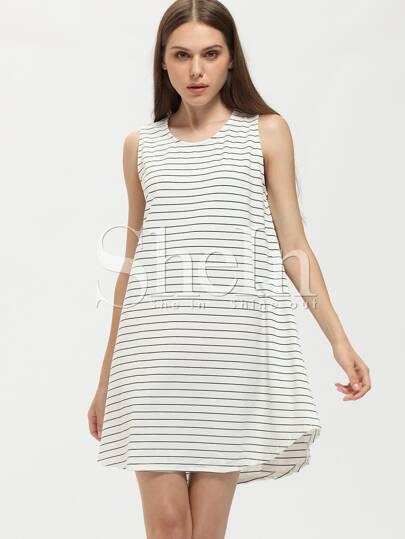 White Sleeveless Striped Tent Dress