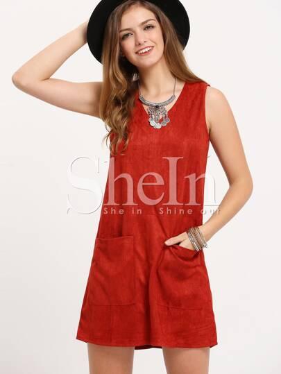 Red Sleeveless Pockets A Line Dress