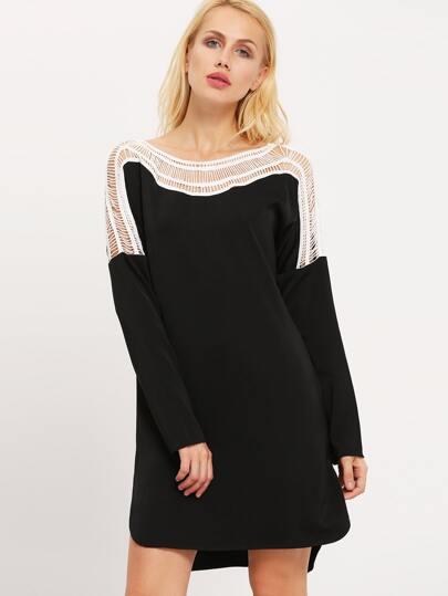 Black Color Block Hollow Out Dress