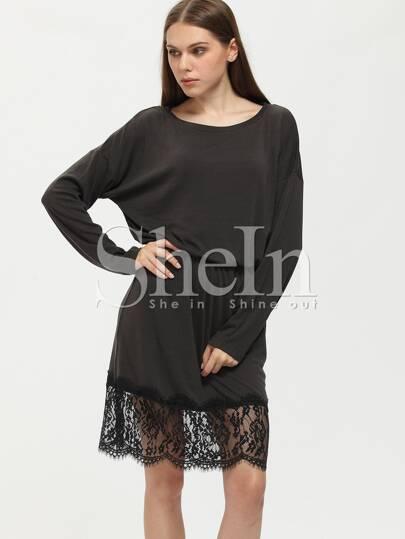 Black Dropped Shoulder Seam Lace Hem Dress