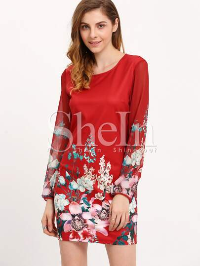 Red Crew Neck Floral Shift Dress