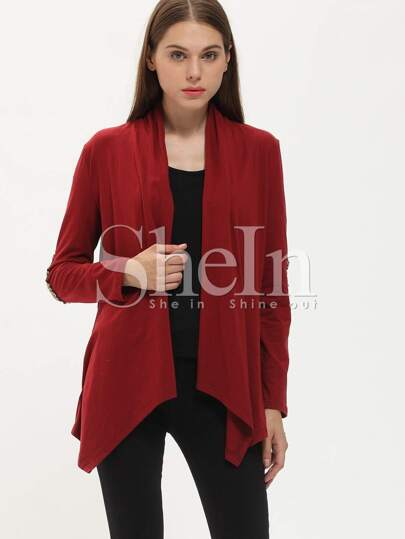 Burgundy Elbow Patch Sequined Coat