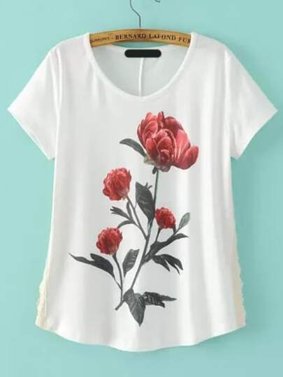 White Short Sleeve Rose Print Loose T-Shirt