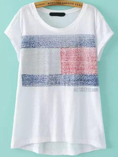 White Short Sleeve Danish Flag Print T-Shirt