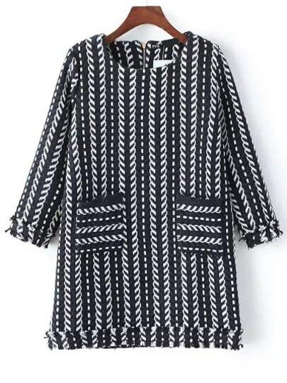 Black Navy Vertical Stripe Pockets Dress