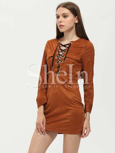 Brown Lace Up Neck Dress
