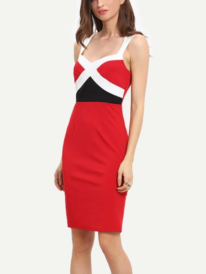 Red Criss Cross Color Block Sheath Dress