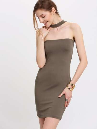 Army Green Halter Strapless Slim Bodycon Dress