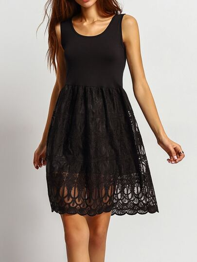 Black Sleeveless Lace Sheer Loose Dress