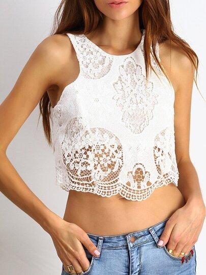 White Round Neck Crochet Lace Tank Top