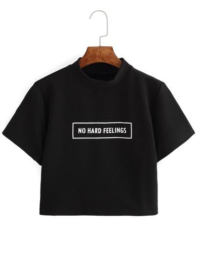 Crop T-shirt lettera stampa nero