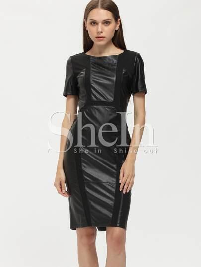 Black PU Leather Sheath Dress