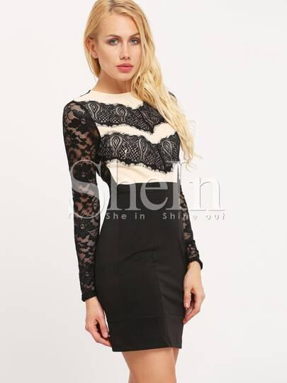 Black Color Block Lace Bodycon Dress