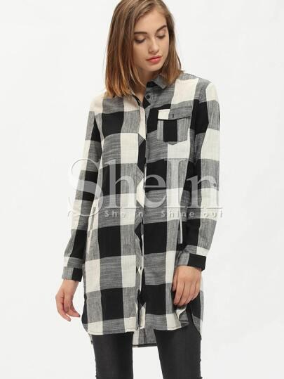 Black Plaid Adjustable Sleeve Shirt Dress
