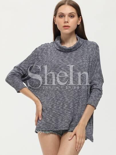 Camiseta cuello alto suelta -gris