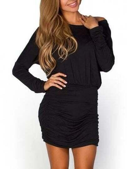 Black Scoop Neck Pleated Bodycon Dress
