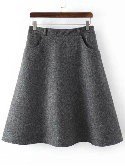 Falda cintura elástica bolsillos -gris oscuro