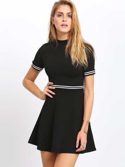 Black Mock Neck Color Blcok Trims Dress