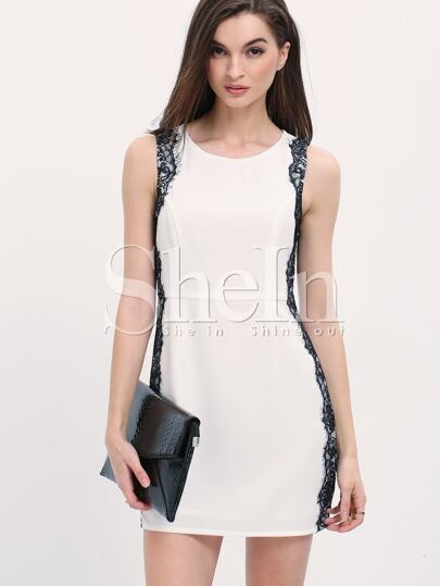 White Sleeveless Contrast Lace Keyhole Back Dress