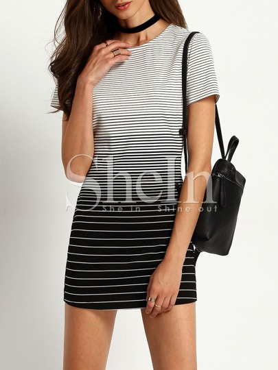 White Striped Color Blcok Shift Dress