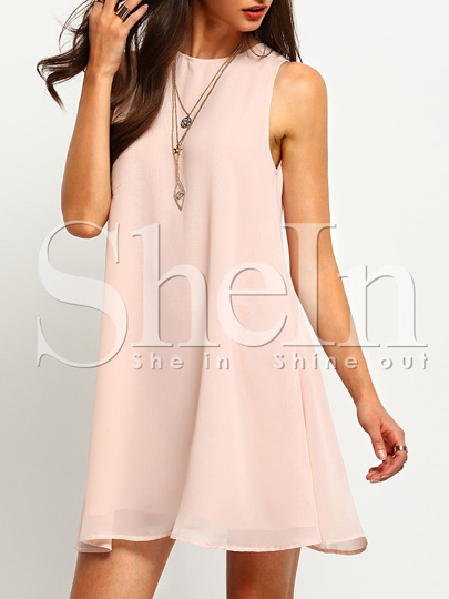 ärmelloses Kleid mit kleinem Rundhals - rosa