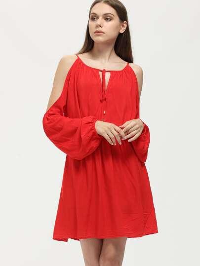 Red Tie Neck Cold Shoulder Dress