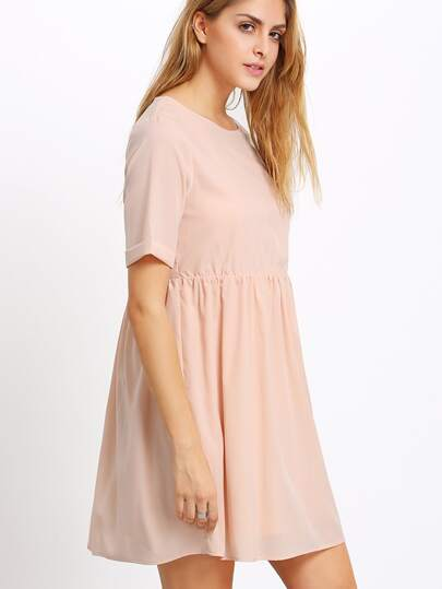 Apricot Crew Neck High Waist Dress
