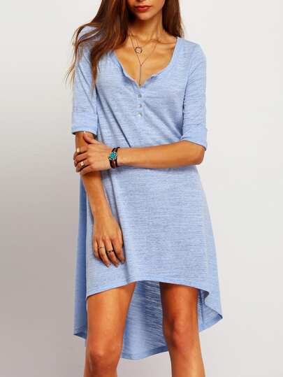 Асимметричное голубое платье