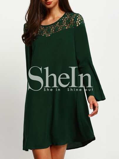 Dark Green Hollow Shift Dress