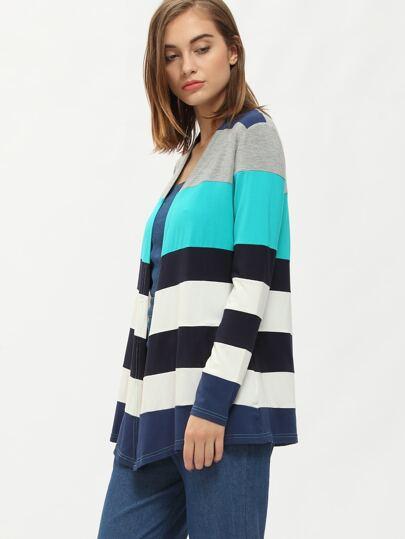 Multicolor Collarless Color Block Coat
