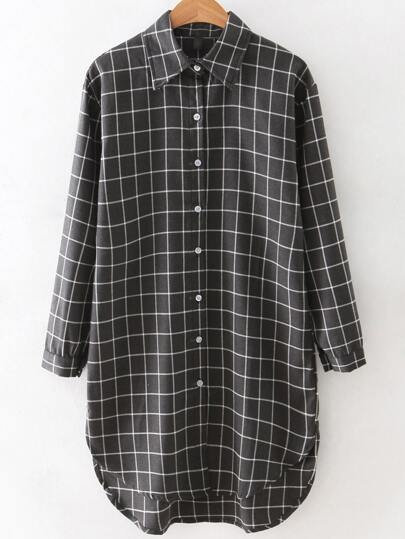 Grey Lapel Long Sleeve Plaid Shirt Dress
