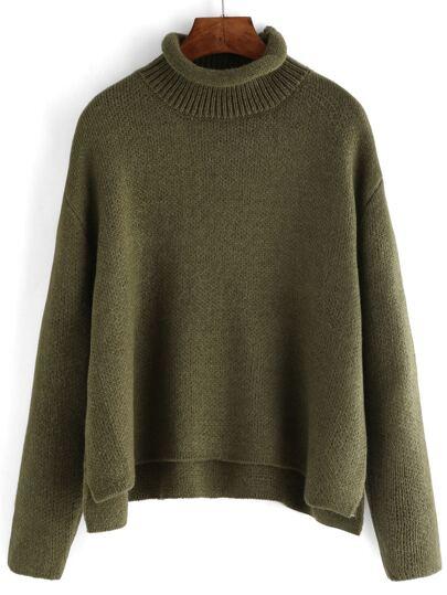 Verde lupetto Crop Maglione sciolto