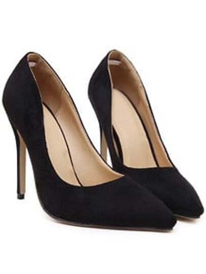 Black Point Toe Suede High Stiletto Heel Pumps