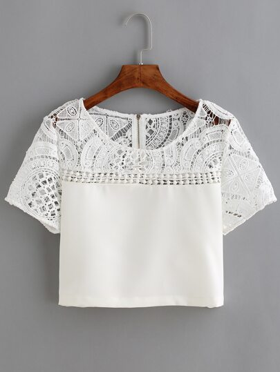 White Lace Crochet Crop Blouse