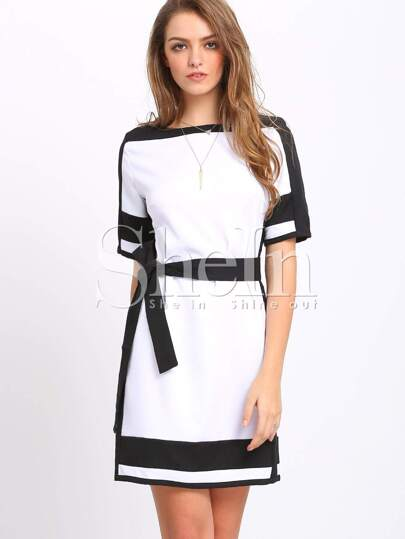 White Color Block Trims Belted Dress